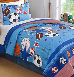 SPORTS-STAR-Twin-Single-QUILT-SET-BOYS-FOOTBALL-SOCCER-BASEBALL-BLUE-COMFORTER