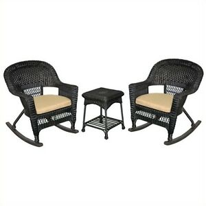 Image Is Loading Jeco 3pc Wicker Rocker Chair Set In Black