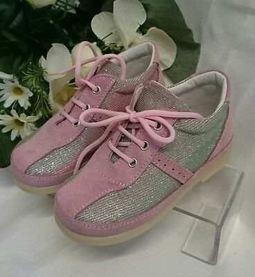 BABY Mädchen Sneakers Kinder Schuhe MADE IN ITALY Gr 19 Rosa Glitzer Wild LEDER