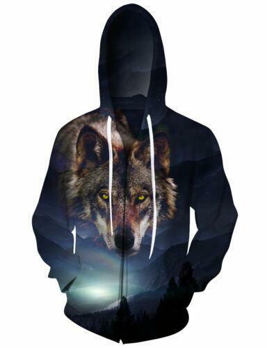 UK Mens Womens 3D Wolf Print Zip Up Hoody Jacket Hoodie Hooded Winter Warm Coat
