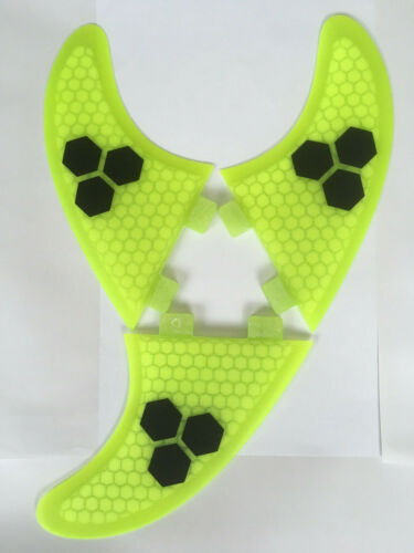 M7 Thruster Set Of 3 Hexcore Yellow SURFBOARD FINS Honeycomb FCS Large Surf Fin