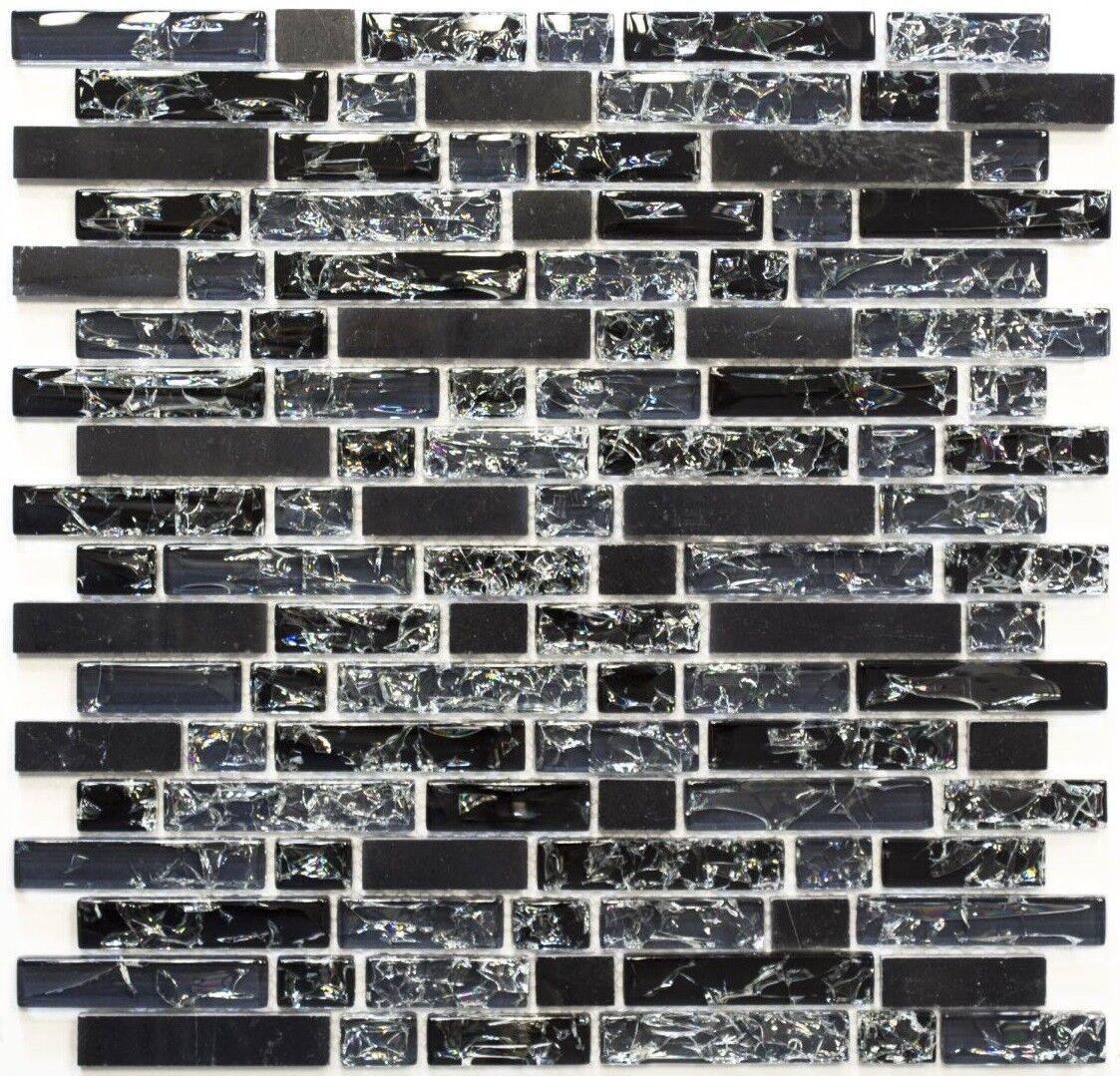Mosaïque composite translucide alu verre pierre schwarz mur 87-v1328_f   10 plaques