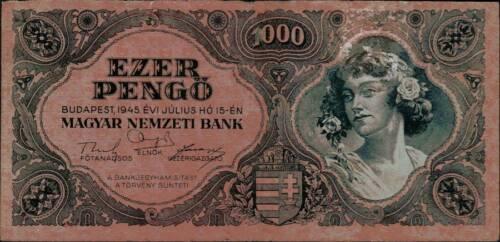 1945 Hungary 1000 Pengo Banknote