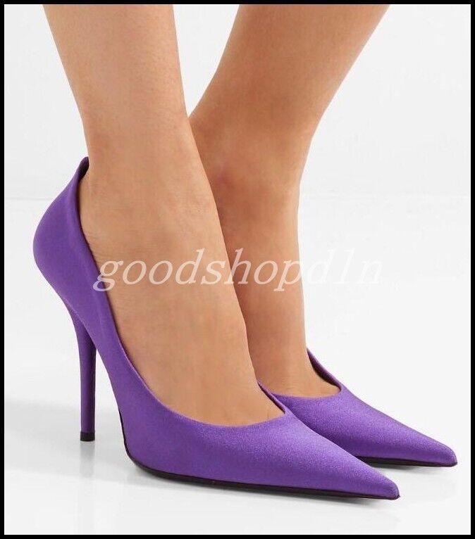 100% nuovo di zecca con qualità originale Vogue donna Satin Pointy Toe Pumps Pumps Pumps High Heels Party OL Dress Stilettos scarpe SZ  miglior reputazione
