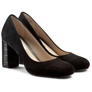 Clarks-Court-Shoes-GABRIEL-MIST-Black-Suede-Crocodile-Effect-Block-Heel