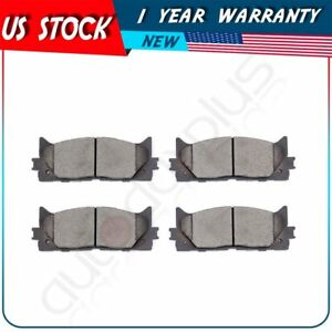 4X Front and 4X Rear Ceramic Discs Brake Pads For 2007 2008-2016 Toyota Camry