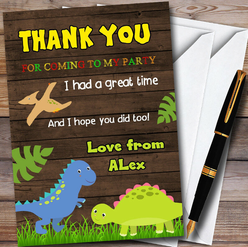 Bois Dinosaure Personnalisé  D'anniversaire s Fête D'anniversaire  THANK YOU Cartes 010851