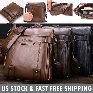 090ab30818 Image is loading Vintage-Mens-Leather-Crossbody-Messenger-Shoulder-Bag- Business-