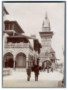 France-Paris-Pavillon-de-Bosnie-et-de-la-Hongrie-vintage-citrate-print-Expos
