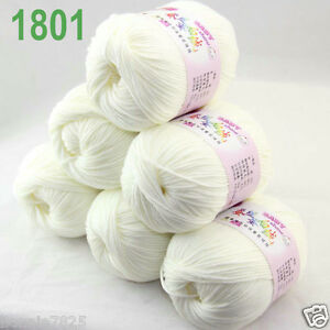 Sale-6-ballsx-50gr-DK-Baby-Soft-Cashmere-Silk-Wool-hand-knitting-Crochet-Yarn-01
