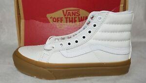 97aaa9ea638c Vans New Sk8 Hi Slim Light Gum True White Leather Canvas Skate Shoe ...