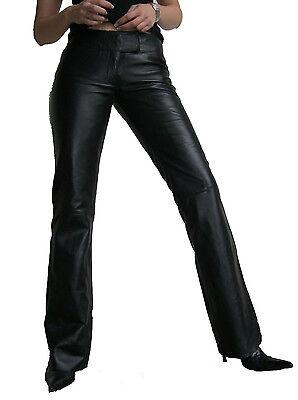 LOW CUT-2 Ricano Damen Lederhose Schlaghose Jeans Lammleder Schwarz XS - 2XL NEU