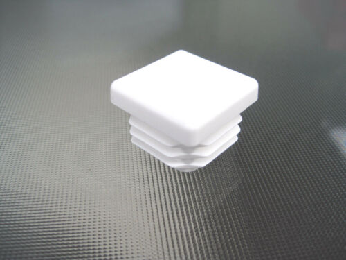 """20-1/"""" White Square Tubing Plastic Hole Plugs 1 Inch End Cap  1/""""x1/"""" Chair Glide"""