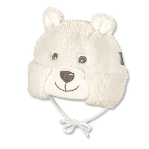 Sterntaler Baby Wintermütze zum Binden Bärchen in ecru warme Plüschfellmütze