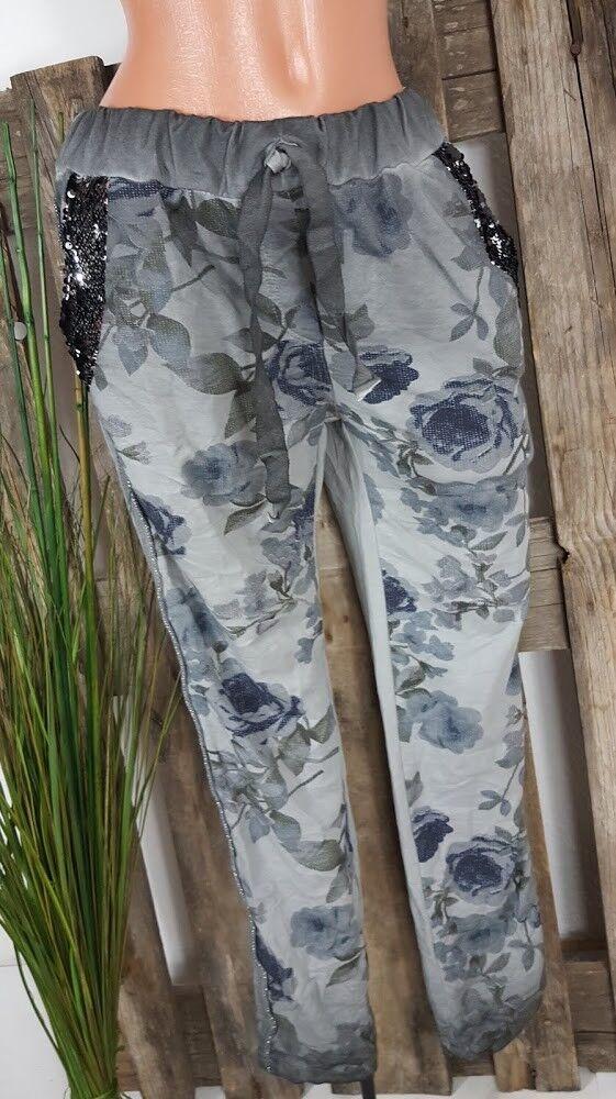 NEW  Baggy JogHose Trousers Sweat Hose Sequins   Batik Washed grau 38-42