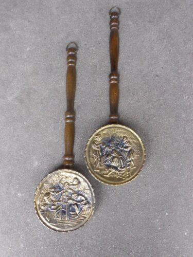 Two Vintage Brass Wall Pockets with Wooden Handles Pub Scene Made in England