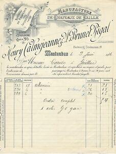 MONTAUBAN-FACTURE-1916-CALMEJEANNE-BRUNET-RIGAL-CHAPEAUX-DE-PAILLE-MANCINI