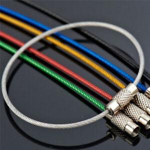 5x-Edelstahl-Draht-Keychain-Kabel-Schluesselanhaenger-Ketten-Outdoor-Wandern-E