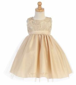 6491217d967b Baby Toddler Kids Flower Girls Gold Tulle Dress Pageant Christmas ...