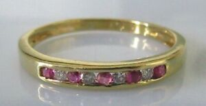 Vintage-18ct-yellow-gold-ruby-diamond-channel-set-half-band-ring-size-N