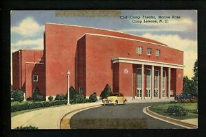 Military-Base-postcard-Camp-Lejeune-North-Carolina-NC-Marine-Base-Theater-linen