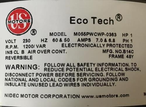 US MOTORS M055PWCWP0363 1HP ECOTECH ECM DIRECT DRIVE  BLOWER MOTOR SINGLE SHAFT