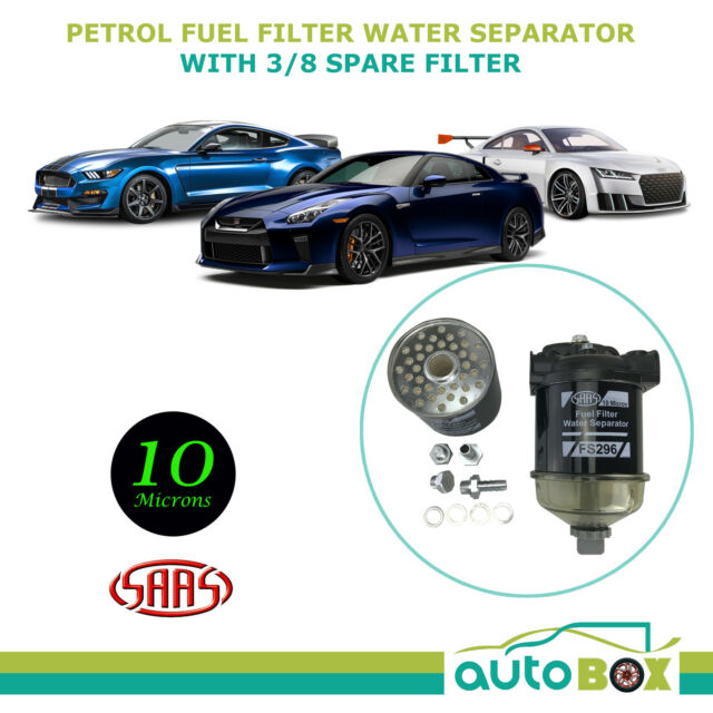 SAAS Petrol Fuel Filter Water Separator 10 Microns With 3/8 Barbed Spare Filter