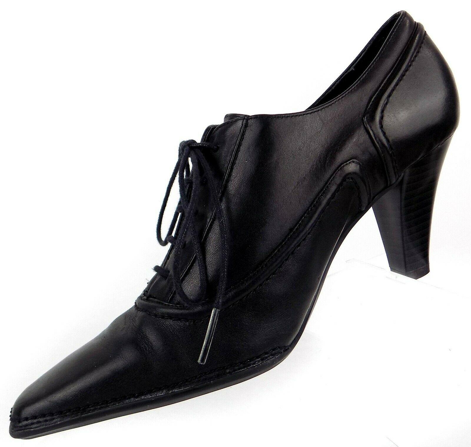 Whats What by Aerosoles Womens Heels Size 6M Black Leather Snip Toe Granny Shoes