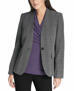 DKNY-Womens-Collarless-Plaid-Menswear-Blazer-4-Black-Purple