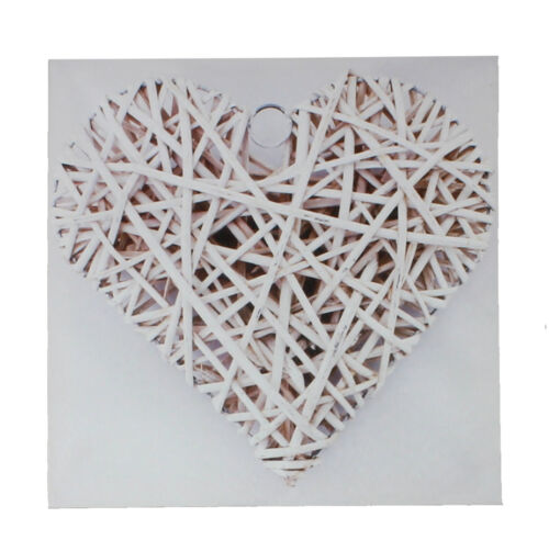 Square Canvas Print Wall Art ~ White Rattan Heart ~ Girls Bedroom Decor 61719
