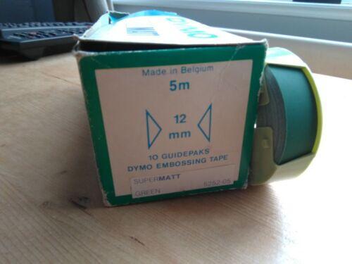Genuine Dymo embossing tape roll 12mm x 5m  SuperMatt Green finish