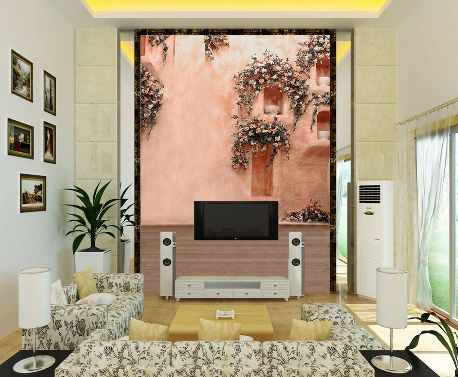 3D Pink Flowers Hole 7 Wall Paper Murals Wall Print Wall Wallpaper Mural AU Kyra