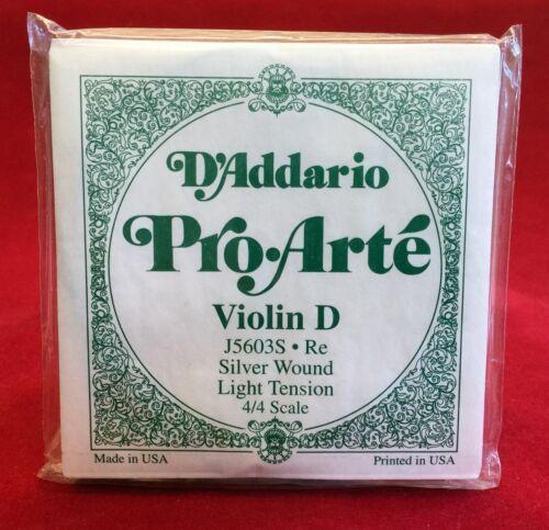 - Silver Light T 4//4-5 Stück Set D´Addario Pro•Arté Violin D• Re -J5603S