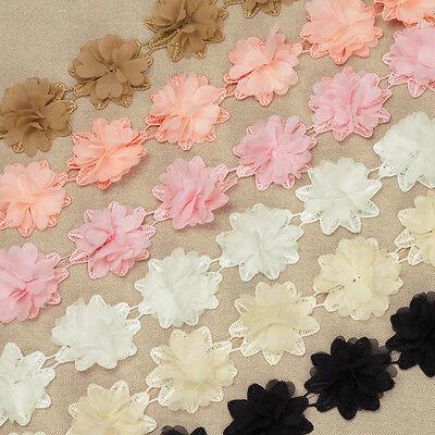 1 Yard 3D Chiffon Chic Flower Crochet Lace Trim Fabric Wedding Dress Crafts VL3