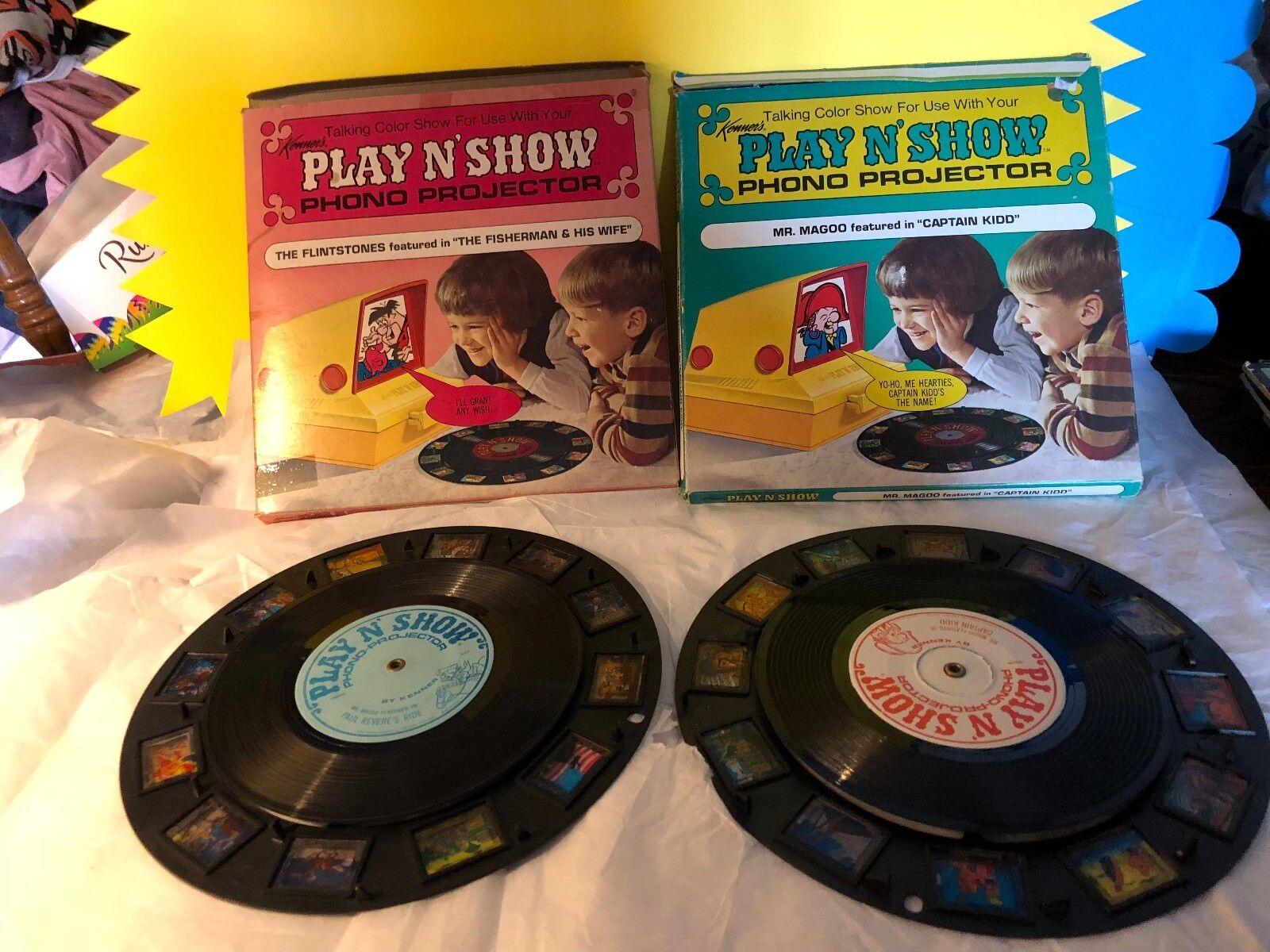 Vintage Kenner's Jugar N Show Phono Proyector Records Picapiedra señor Magoo Con Caja