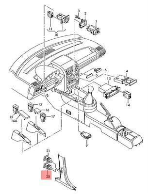 New Genuine Audi A2 LHD Fuel Petrol Diesel Flap Release Button 8Z1959833 OEM