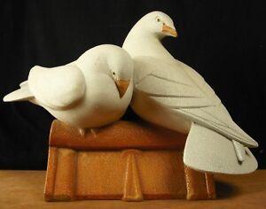 Consciencieux Sculpture Art-déco Années 30's Pair Of Doves On The Roof Sign Ch Lemanceau 40 Cm CoûT ModéRé