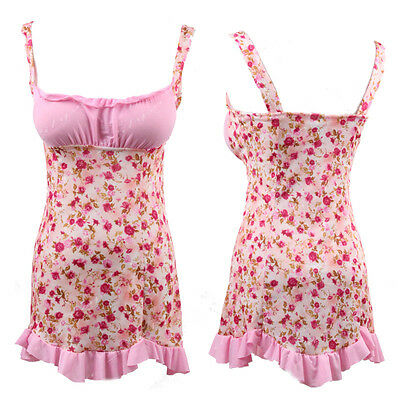 Pink Floral Lingerie Babydoll Chemise Dress Sleepwear Nighty Plus Size S M L XL