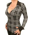New Black and White Checked Mock Wrap Top with Collar