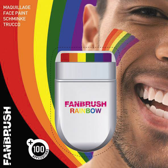 RAINBOW  PRIDE  COLOURS FACE PAINT BY FANBRUSH ONBEHALF OF SPACE CHARITY