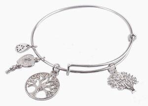 Fashion-Silver-Tone-Expandable-Wire-Charm-with-pendant-Bracelet-Bangle