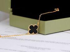 Bracelet  Trèfle Lucky Fleur Doré Acier Inox Noir Joli 14mm Fin Class TR1