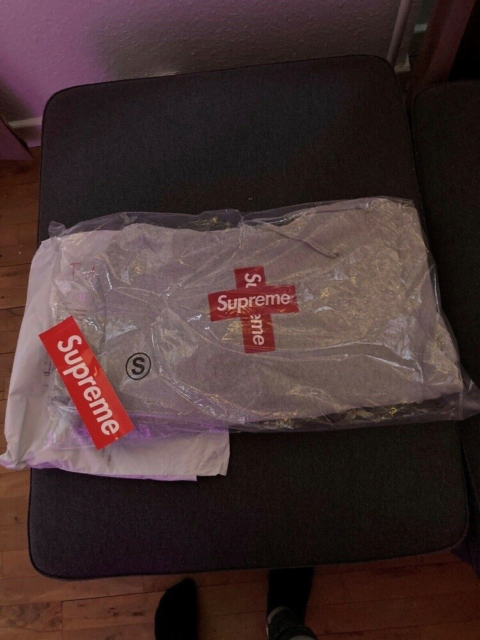 Hættetrøje, Supreme , str. S,  Heather  Grey, Supreme Cross…