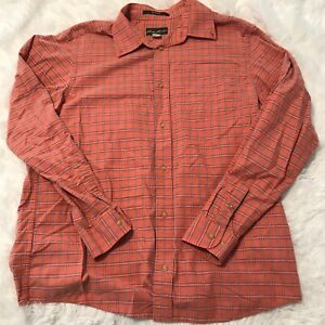 Eddie-Bauer-Mens-Size-Large-Salmon-Pink-Plaid-Flannel-Long-Sleeve-Button-Shirt