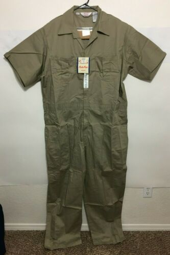 Walls Mens Twill Non-Insulated Short Sleeve Coveralls Color Khaki 61002 NWT