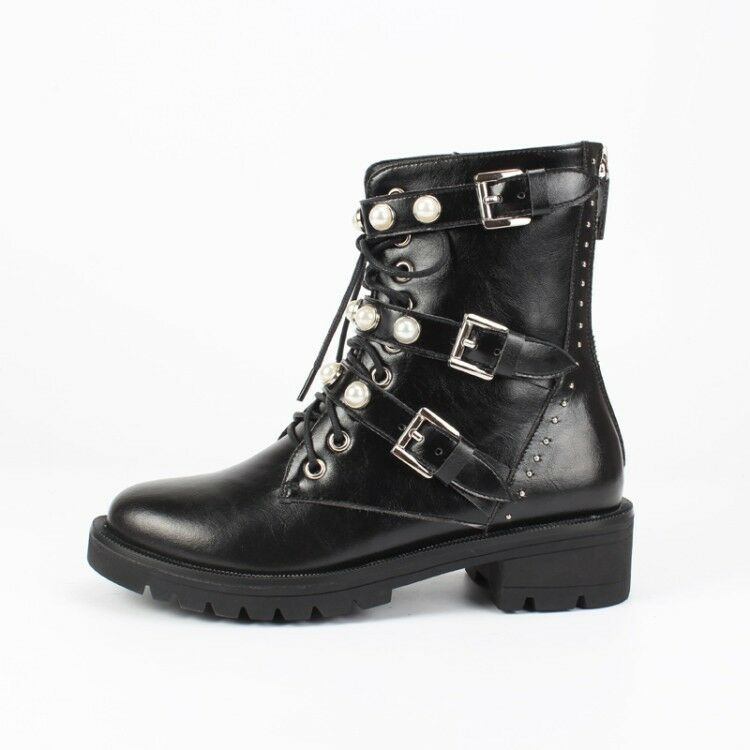 Donna Fashion Pearls Buckle Strap Lace Up Chunky Low Heels Booties Army Boots
