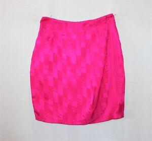 ADELE-PALMER-Brand-Shocking-Pink-Sand-Washed-Silk-Short-Skirt-Size-10-BNWT-SN27