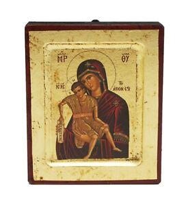 Greek Russian Orthodox Handmade Wooden Icon Our Lady Axion Esti 12.5x10cm