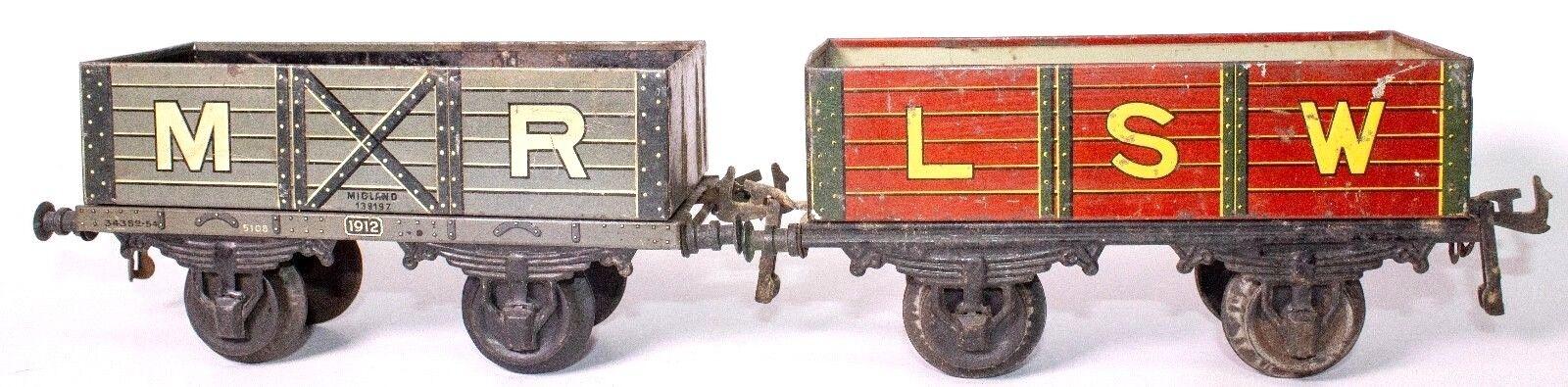 Vintage pre-guerra Bing calibre 1 juego de dos Midland ferroCocheriles señor y LSW góndolas