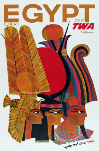 TX169 Vintage Egypt Egyptian Airline Airways Travel Tourism Poster Re-print A3